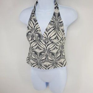 Black and White Halter Swim Top Size XL